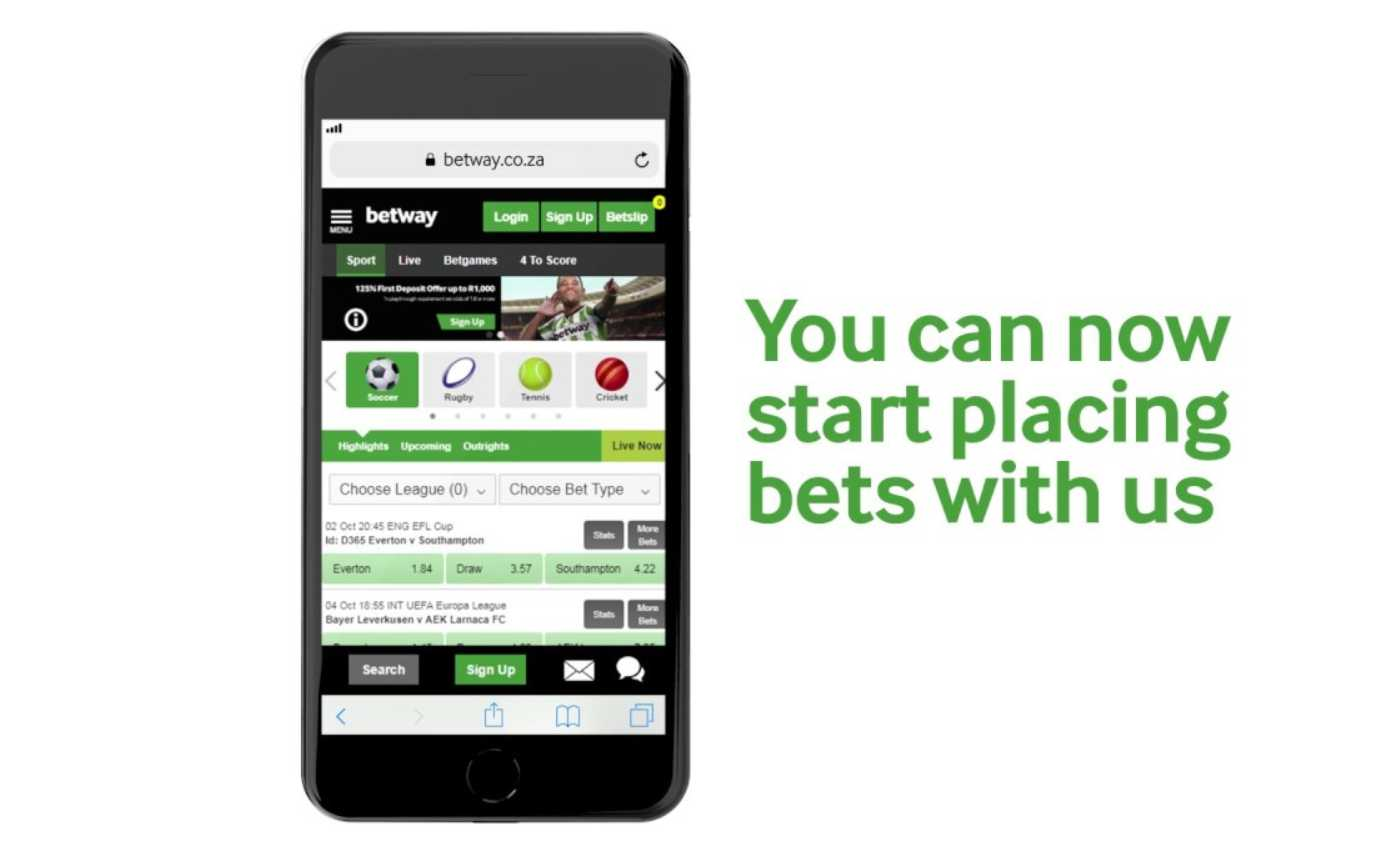 Betway App: online casino games on mobile phone.
