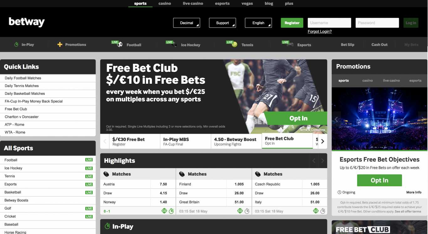 Betway registration in India.